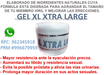 GEL XTRA LARGE: Desarrollando su miembro viril ganara tamaño en grosor y largo, obteniendo así mucho más apetito sexual.