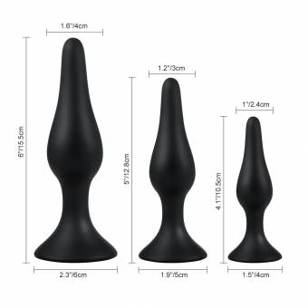 Utimi - Plugs Anales de Silicona para Relajación Anal, color Negro, 3 Piezas. Envíos a Granada