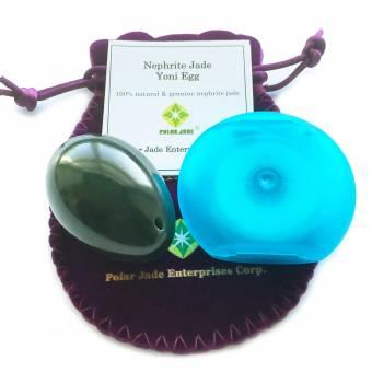 Huevo de jade de nefrita, mediano, perforado, con hilo sin cera e instrucciones, para todos los niveles y para entrenar los músculos de Kegel y obtener mejor control de la vejiga e impedir la incont
