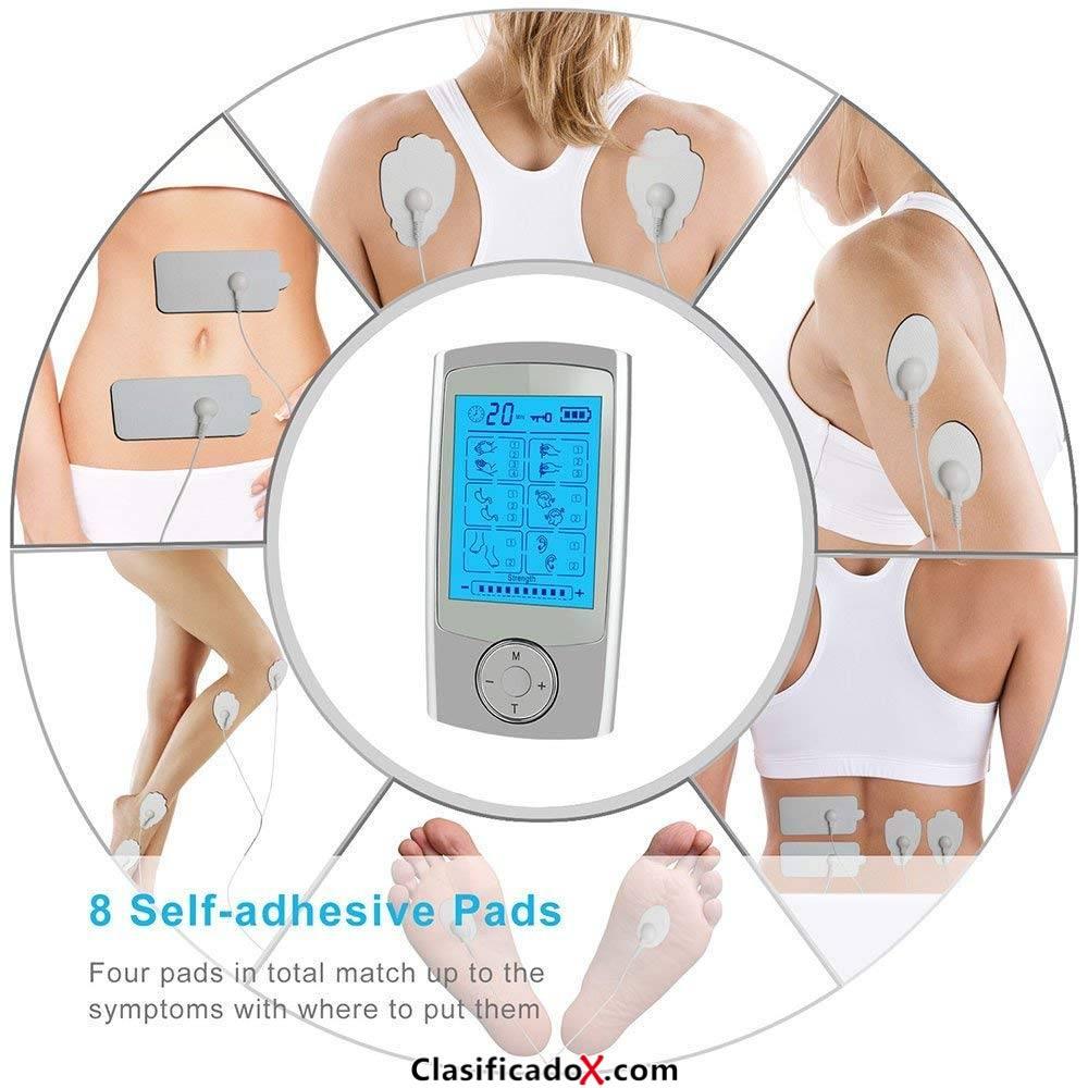 Electroestimulador Muscular | Eléctrica TENS Masajeador con Electrodos, Canal Doble|Reduce Dolor de Espalda, Cuello, Codo, Hombro, Nervio, Recargable por USB, Pantalla LCD, 2 Canales, 8 Self-adhesiv