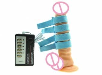 Juguetes eróticos Electroestimulación Juguetes sexuales, Electro Estimulación, Masculino, masturbador, pulso, descarga eléctrica, orgásmica, anillo del pene, anillo de terapia física, dispositi