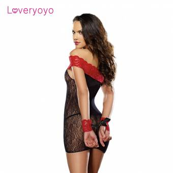 Loveyoyo Ropa Interior Lencería Transparente de Diseño Atractivo de Encaje con Tanga Sexual (Negro y Rojo). Envíos a Las Palmas