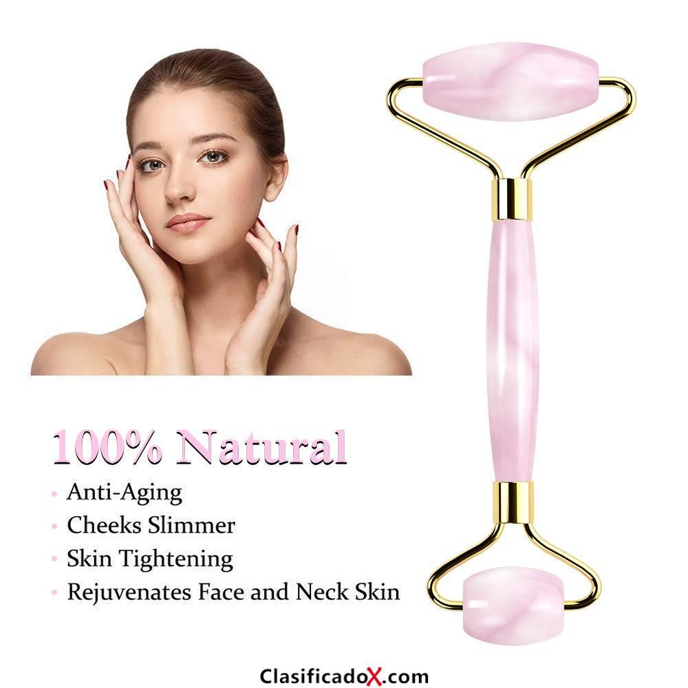 Rodillo de masaje de jade, masaje de cuarzo rosa natural con tratamiento facial antienvejecimiento, rejuvenece la piel de la cara y el cuello,rejuvenece herramientas de belleza. Envíos a Alacant