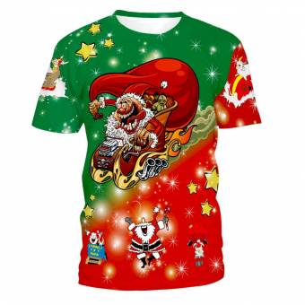 Mymyguoe Unisex Hombres Mujeres Impresión de Navidad Blusa de Manga Corta Camiseta Tops Blusa Navidad Santa Imprimir Blusa de Manga Corta Camiseta Top Camisa Pullover. Envíos a Lugo