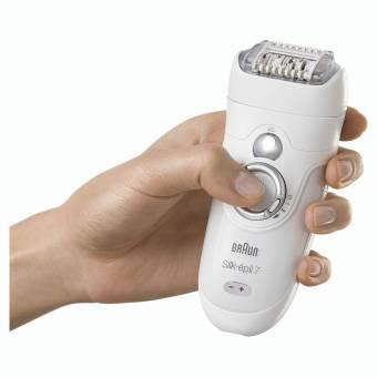 Braun Silk-épil 7 7-561 - Pack con depiladora para mujer inalámbrica con 8 accesorios, cabezal de afeitadora y recortadora zona bikini, blanco/plata. Envíos a Castellón
