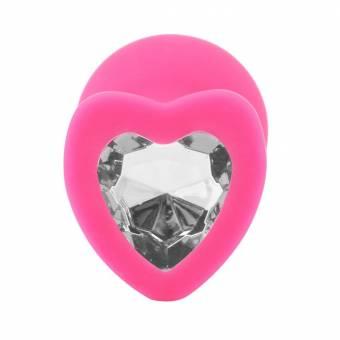 Rawdah Emocionante Enchufe anal, 1pcs base en forma de corazon con joyas de piedra de nacimiento rosa joya juego anal sexo a tope (Claro). Envíos a Granada