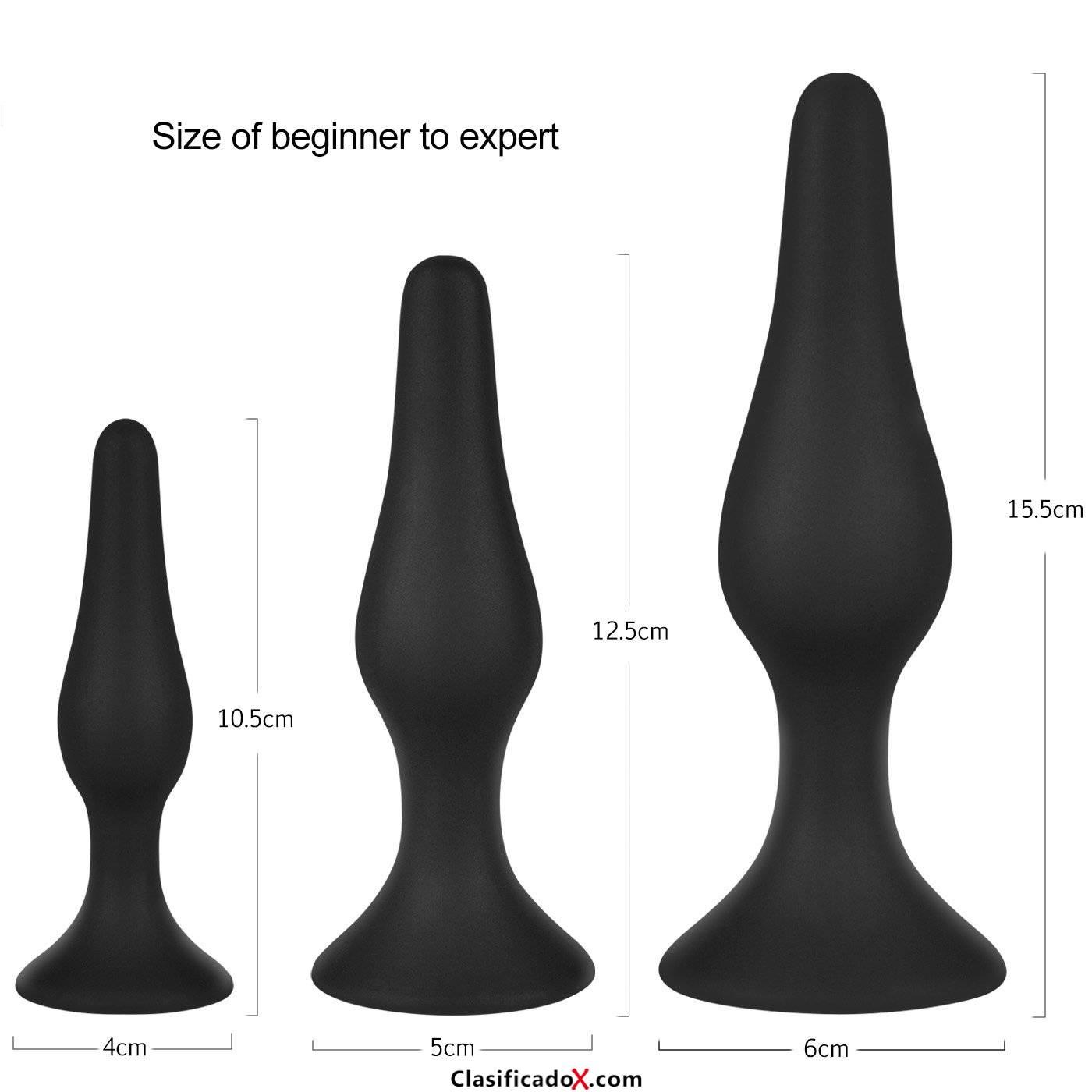 Plug Anales Tres Piezas Negro para la Expansión y la Masturbación en S, M, L Tamaño de Dothnix. Envíos a Las Palmas