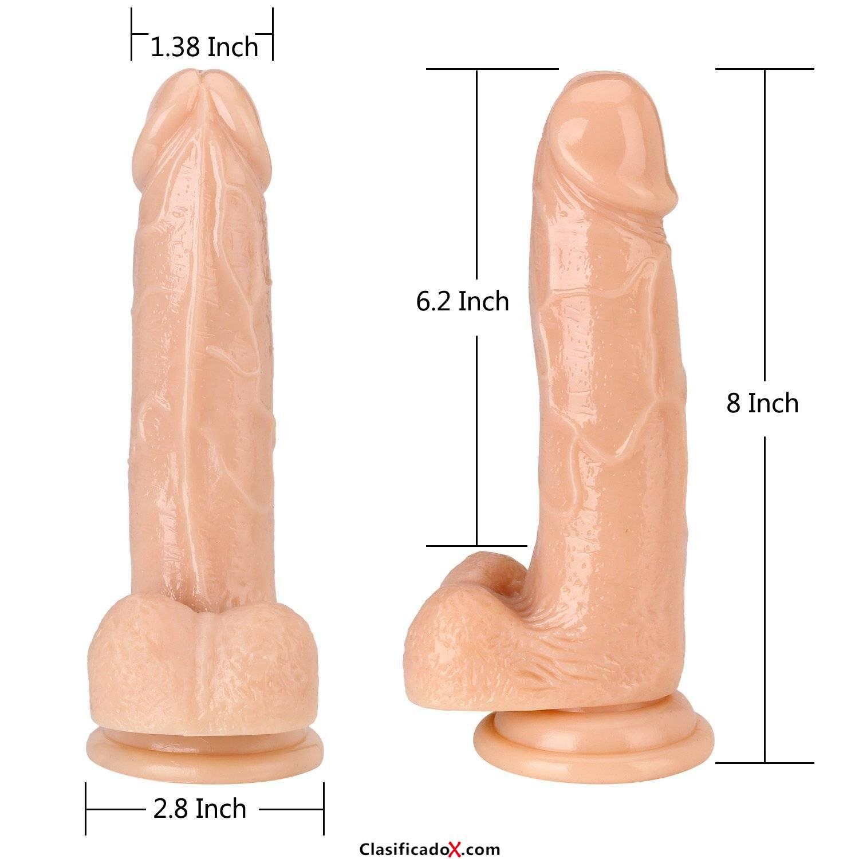 Dildo de Silicona, 20,3 cm Consolador Realista Pene con Potentes Ventosas (Carne1). Envíos a Las Palmas