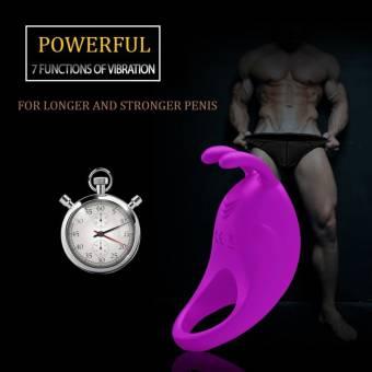 Anillo pene vibrador Cockring Silicona, James Love 2-en-1 Pene Vibrador Estimulador del Clítoris 7 frecuencia Vibración, 100% impermeable y Recargable Juguete sexual Para Hombre Mujer Pareja (Morad