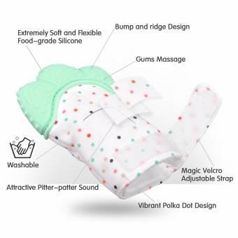 Manopla de dentición de silicona para bebé, Guante de alivio de dolor y alivio del dolor Guante de dentición de seguridad alimentaria BPA GRATIS para bebé y niña de 3 a 12 meses(naranja). En