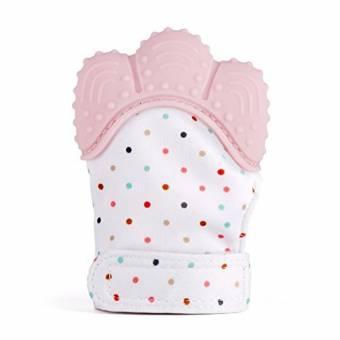Manopla de dentición de silicona para bebé, Guante de alivio de dolor y alivio del dolor Guante de dentición de seguridad alimentaria BPA GRATIS para bebé y niña de 3 a 12 meses(Rosado). Env