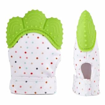 Manopla de dentición de silicona para bebé, Guante de alivio de dolor y alivio del dolor Guante de dentición de seguridad alimentaria BPA GRATIS para bebé y niña de 3 a 12 meses(Verde). Env?