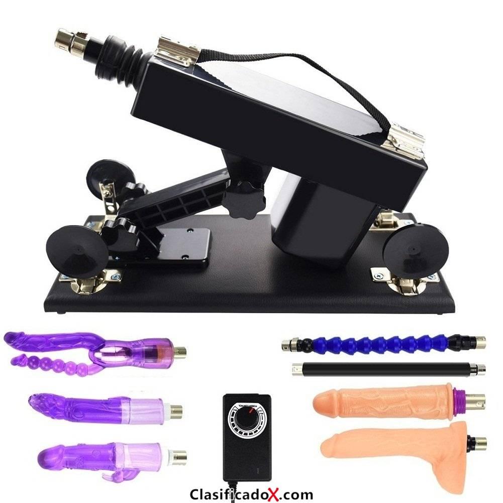 Sex Machine - Ametralladora de masturbación automática con consolador para mujeres, máquina de follar súper fuerte y estable (Negro-01). Envíos a Las Palmas