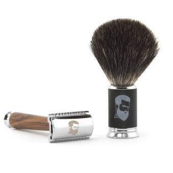 Rusty Bob - Maquinilla de afeitar y cepillo de afeitar hecha de pelo de tejón y el afeitado y cinco hojas de afeitar - Safety Razor - Set 10. Envíos a Huelva