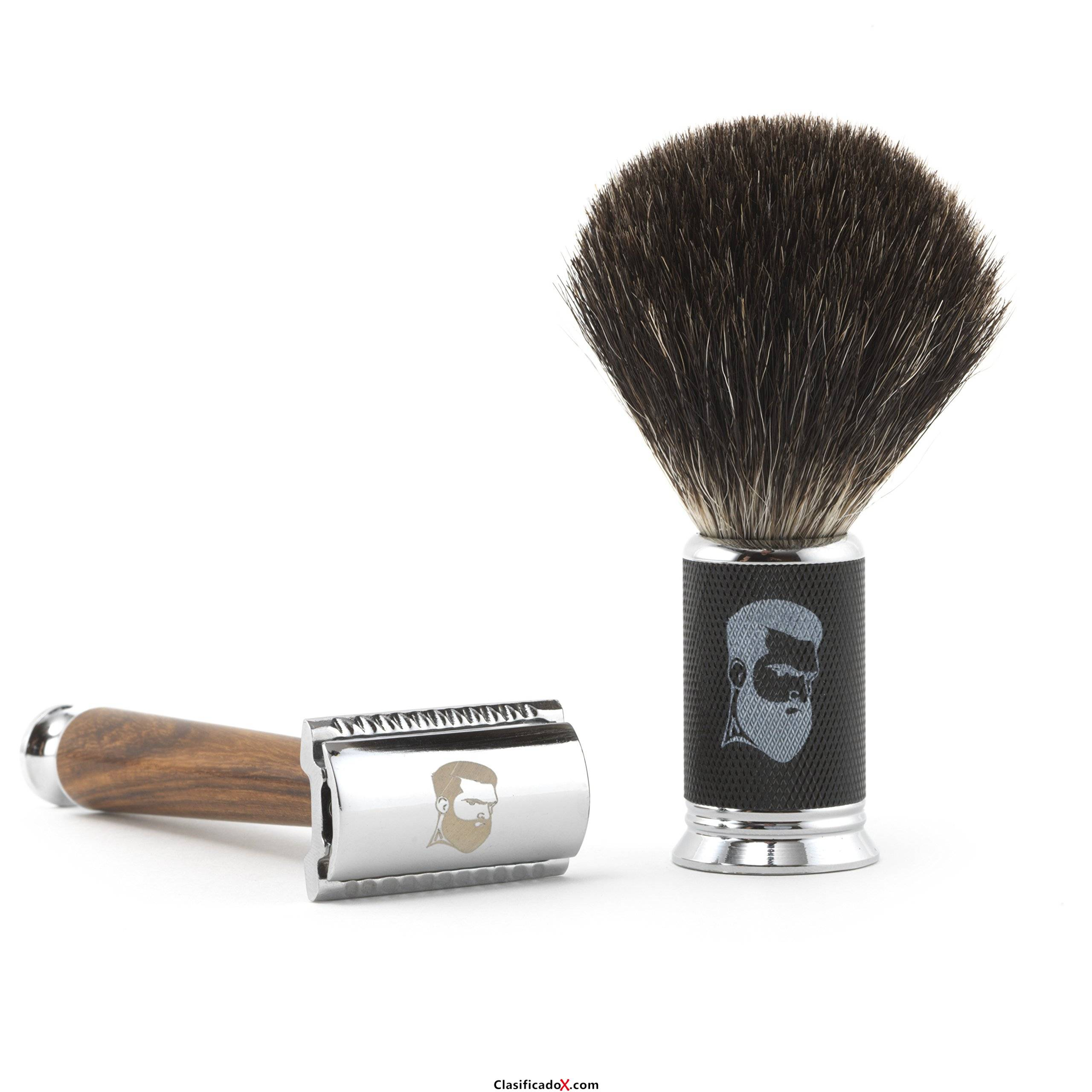 Rusty Bob - Maquinilla de afeitar y cepillo de afeitar hecha de pelo de tejón y el afeitado y cinco hojas de afeitar - Safety Razor - Set 10. Envíos a Jaén