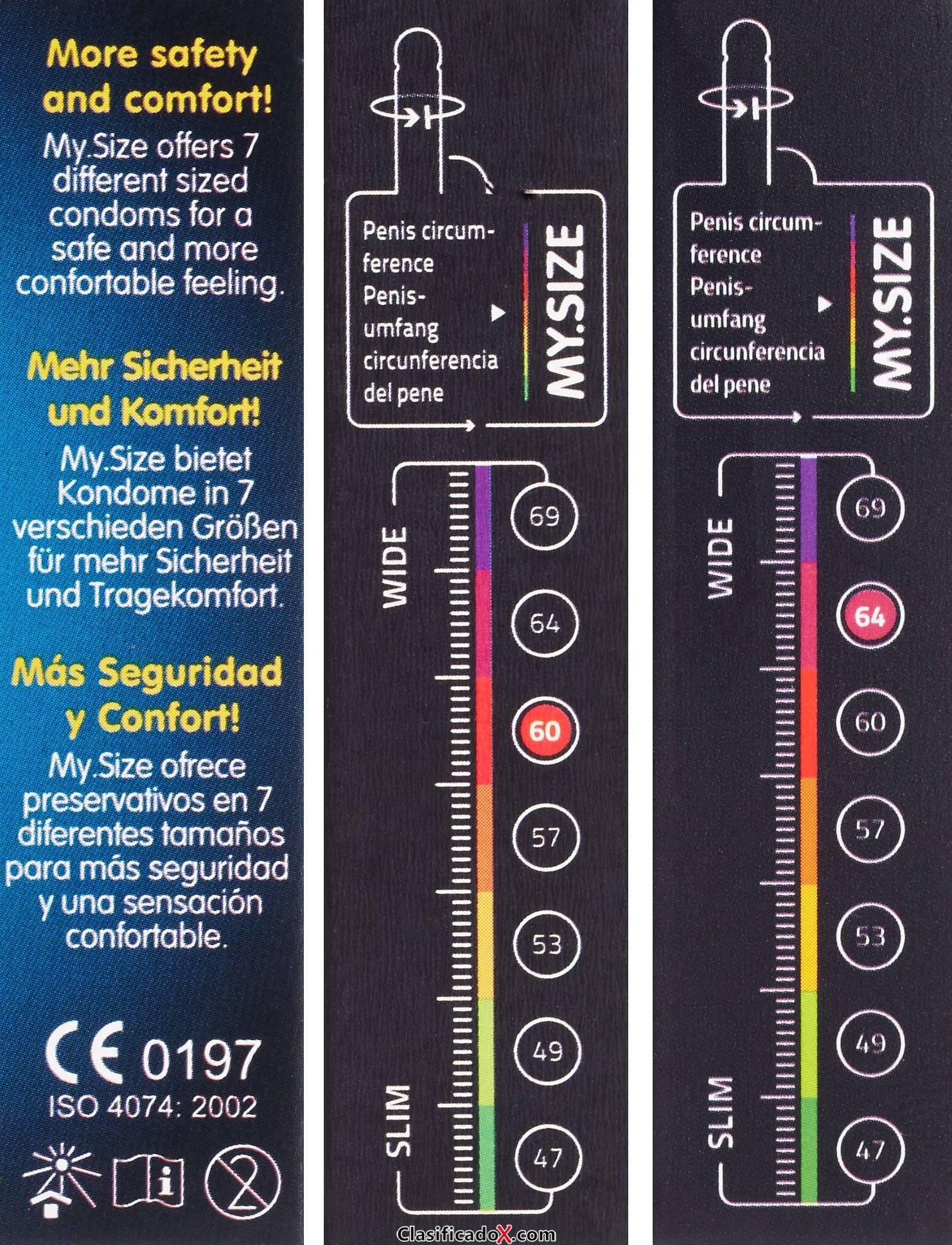 My.Size - Set de preservativos (3 unidades, tallas disponibles: 60, 64 y 69 mm). Envíos a Jaén