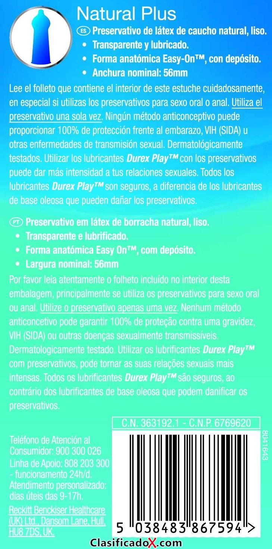 Durex Preservativos Natural Plus - Paquete de 2 x 12 unidades - Total: 24 unidades. Envíos a Jaén