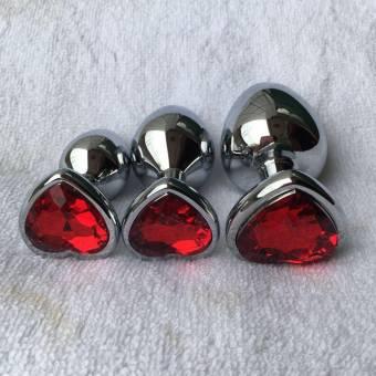 Rawdah Berg Crystal color plata acero inoxidable plug anal metal patio trasero enganche (S, Rojo). Envíos a Almería