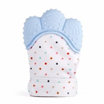 Manopla de dentición de silicona para bebé, Guante de alivio de dolor y alivio del dolor Guante de dentición de seguridad alimentaria BPA GRATIS para bebé y niña de 3 a 12 meses(Azul). Enví