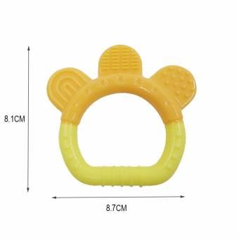 Isuper -Mordedor,Mordedor Juguetes,Mordedor Calmante de Goma Natural Silicona Sin-BPA Diseño de Anillo para bebés recién nacido (amarillo). Envíos a A Coruña