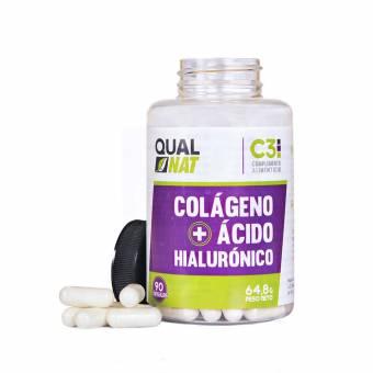 Colágeno con ácido hialurónico para una piel sana – Colágeno con vitamina C y zinc para ayudar a mejorar la elasticidad y salud de huesos y articulaciones - 90 cápsulas. Envíos a Jaén