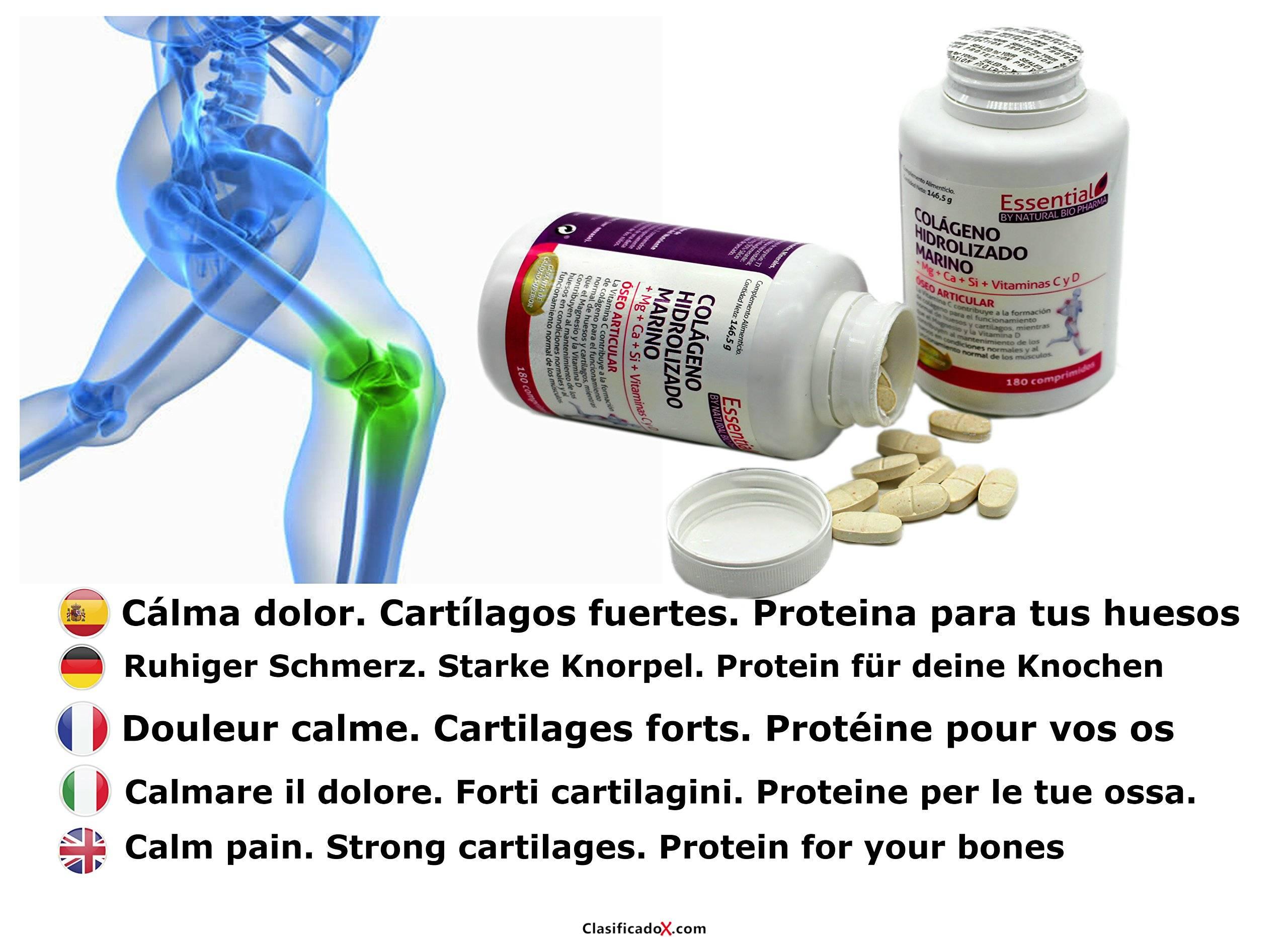 NATURAL BIO Colágeno hidrolizado Magnesio Calcio Vitamina C y D. Colágeno marino hidrolizado con magnesio. Suplementos vitamínicos para tus huesos, dolor en articulaciones.. Envíos a Alacant