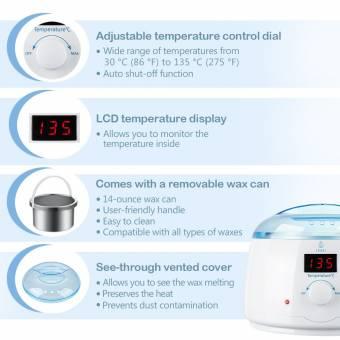 Lavany Calentador de Cera, Set de Depilación con Perlas de Cera Caliente y Máquina Calentadora de Cera con Cuenco para Cera Extraíble de 400 g., 4 Paquetes de 100 g de Granos de Cera Dura y 5 Pali