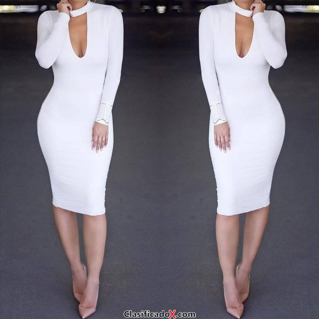 ALAIX sexy vestido sexy mujer fiesta escotado ajustado vestido invierno manga larga Blanco-L. Envíos a Barcelona