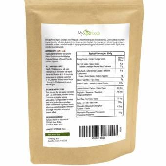 Polvo de Espirulina orgánica | MySuperFoods | Lleno de proteínas, calcio y vitaminas | Rico en nutrientes | La más alta calidad disponible | Orgánico certificado por la Soil Association. Envíos