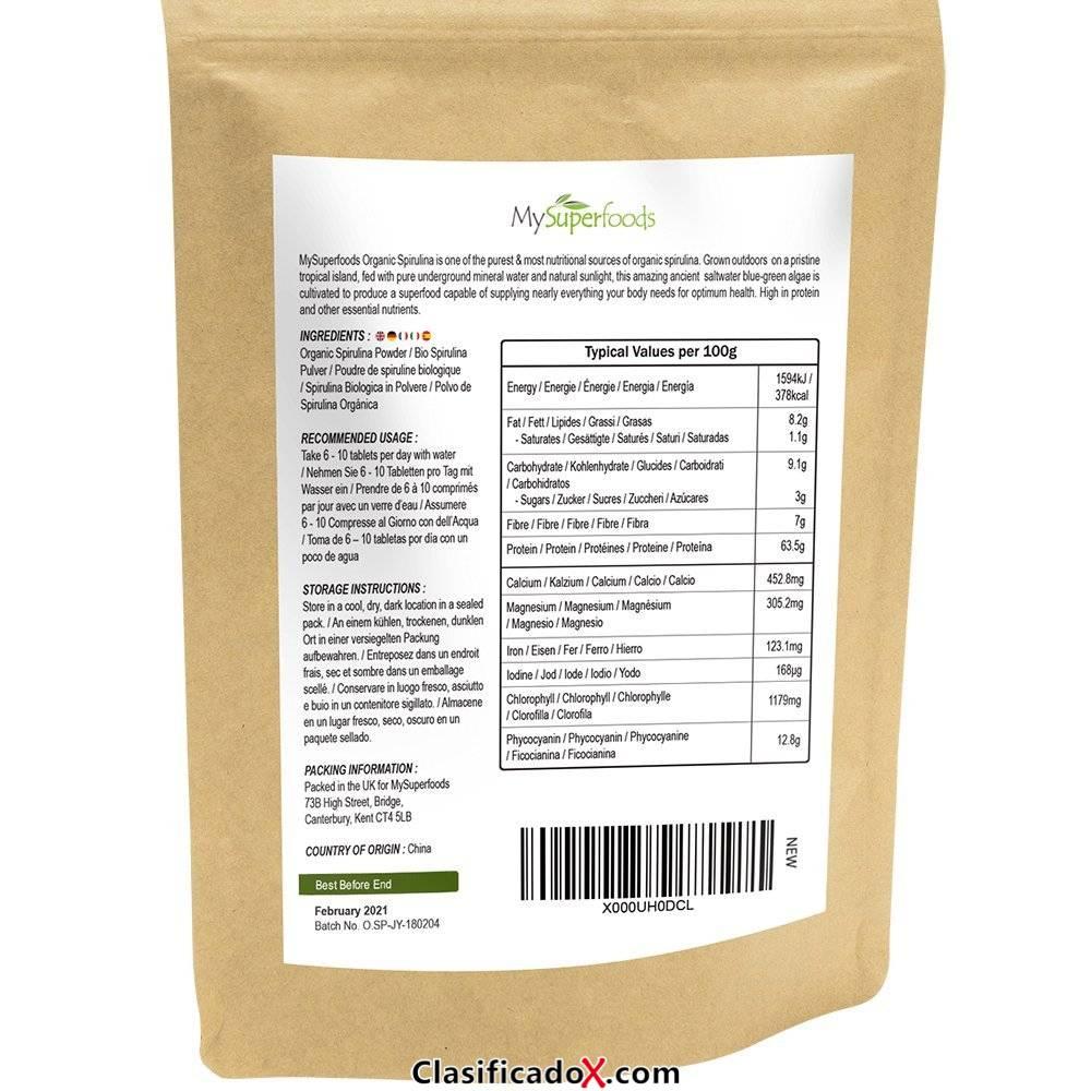 Polvo de Espirulina orgánica   MySuperFoods   Lleno de proteínas, calcio y vitaminas   Rico en nutrientes   La más alta calidad disponible   Orgánico certificado por la Soil Association. Envíos