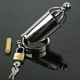 CHAI Juguetes sexuales Juguete Sexual Jaula del Pene Masculino de Acero Inoxidable de Metal de Metal de Plata Chastity Lock Lock Dispositivo de Castidad (Tamaño : 47.6mm). Envíos a Murcia