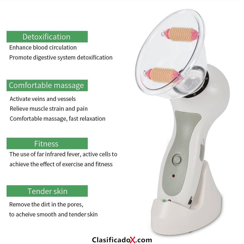 Masajeador de vacío anticelulítico para aumentar la masa mamaria, relajar los músculos y aliviar los dolor, adecuado para la mejilla brazo cintura muslo pierna cuello y hombros. Envíos a Val&egra