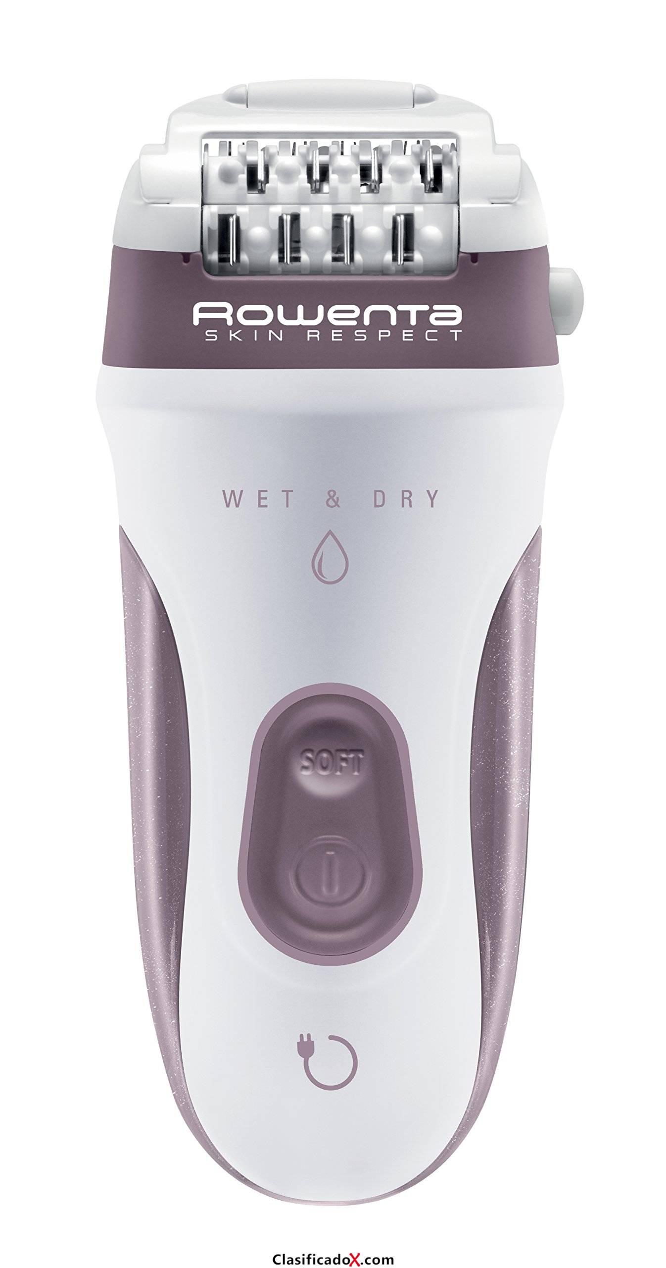 Rowenta Skin Respect EP8060F0 - Sin cable y utilizable bajo el agua, 24 pinzas con cabezal exfoliante y rasurador, accesorio para axilas, cabezal de recorte con cepillo limpiador y neceser. Envíos a