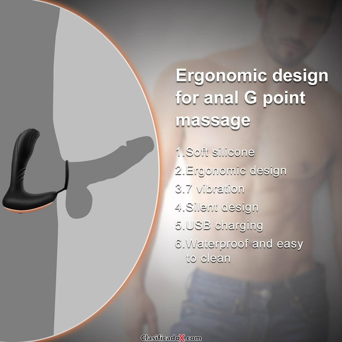 Estimulador de próstata con anillo de martillo, vibrador anal de silicona masaje de próstata juguete vibrador anal consolador anal vibrador macho remoto USB enchufe anal enchufe de ordeño de prós