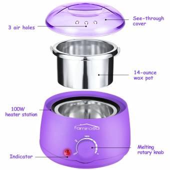 Calentador De Cera Eléctrico Profesional, Set de Depilación con Cera, con Máquina de Cera Caliente + 4 Paquetes de 100 g Frijoles de Cera + 10 Espátulas de Madera + 10 Gasas de limpieza - Violeta