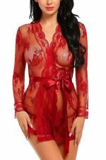 Aranmei Mujer Conjuntos de Lencería Erótica Camisón Babydoll Encaje Ropa de Dormir Transparente Kimono(Rojo,Large). Envíos a Murcia