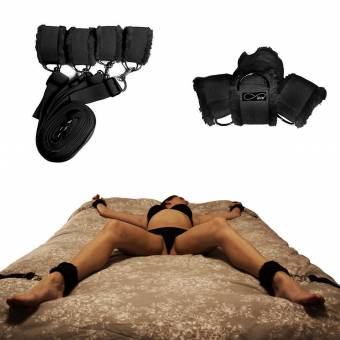 Under Bed Restraints for Sex with Adjustable Straps (Furry) - Black by VOVOV. Envíos a Palencia