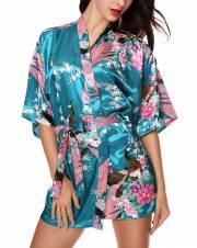 Pijama Lencería Kimono Corto de Satén de Estampado Floral para Mujer. Envíos a Alacant