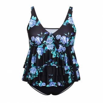 FeelinGirl Conjunto de Bikini Falda Dos Piezas Talla Grande para Mujer Negro 4XL. Envíos a València