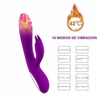 ZAMO Alice Vibrador Doble Consoladores Sexuales Mujer Masturbador Femenina de Calentamiento de Doble Vibración,Estimulador de Punto G para Parejas,Masajeador para Relajar el Cuerpo con 10 Modos. Env