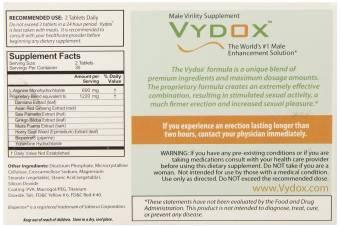 VYDOX Male Virility Enhancement HARD ERECT PENIS PILLS L-Arginine ENLARGEMENT - 60 Tablets (2 Months Original). Envíos a Barcelona