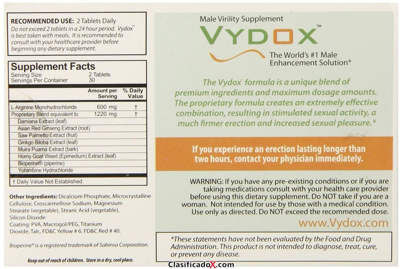 VYDOX Male Virility Enhancement HARD ERECT PENIS PILLS L-Arginine ENLARGEMENT - 60 Tablets (2 Months Original). Envíos a Jaén