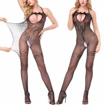 lenceria sexy mujer, Ropa Erótica, AIMEE7 Mujer Sexy entrepierna abierta Medias Crotchles Malla pura lencería corporal (Negro B, Profundidad de la cintura: 56-96 cm). Envíos a Granada