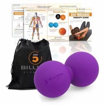 5BILLION Pelota Masaje Double Massage Ball - Pelota Lacrosse & Balon Fitness para Liberación Miofascial & Masaje Muscular - Herramienta de Masaje de Alta Densidad para Cross Fitness, Tejidos Profund