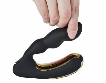 GOLIATE NyX Masajeador Prostático Vibratorio de Lujo para Hombre - Vibrador Estimulador de la Próstata y Placer Anal para Adulto: 10 Modos, Silicona, Inodoro, Estilizado, Silencioso, Resistente al