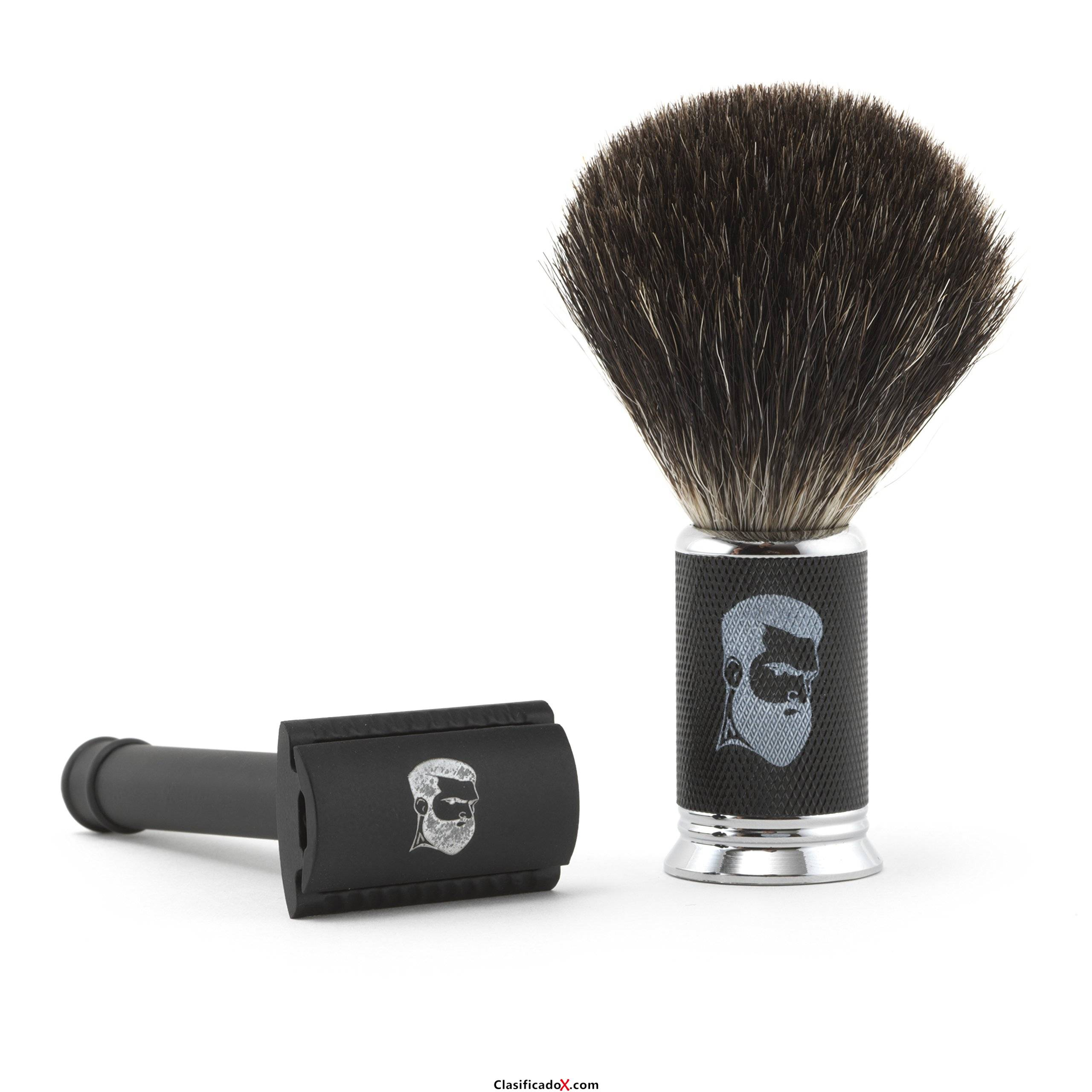 Rusty Bob - Afeitar las maquinillas de afeitar-Planer tradicional clásico-cromo brocha de afeitar el pelo de tejón de afeitar +5x hoja de a - Set 1. Envíos a Jaén