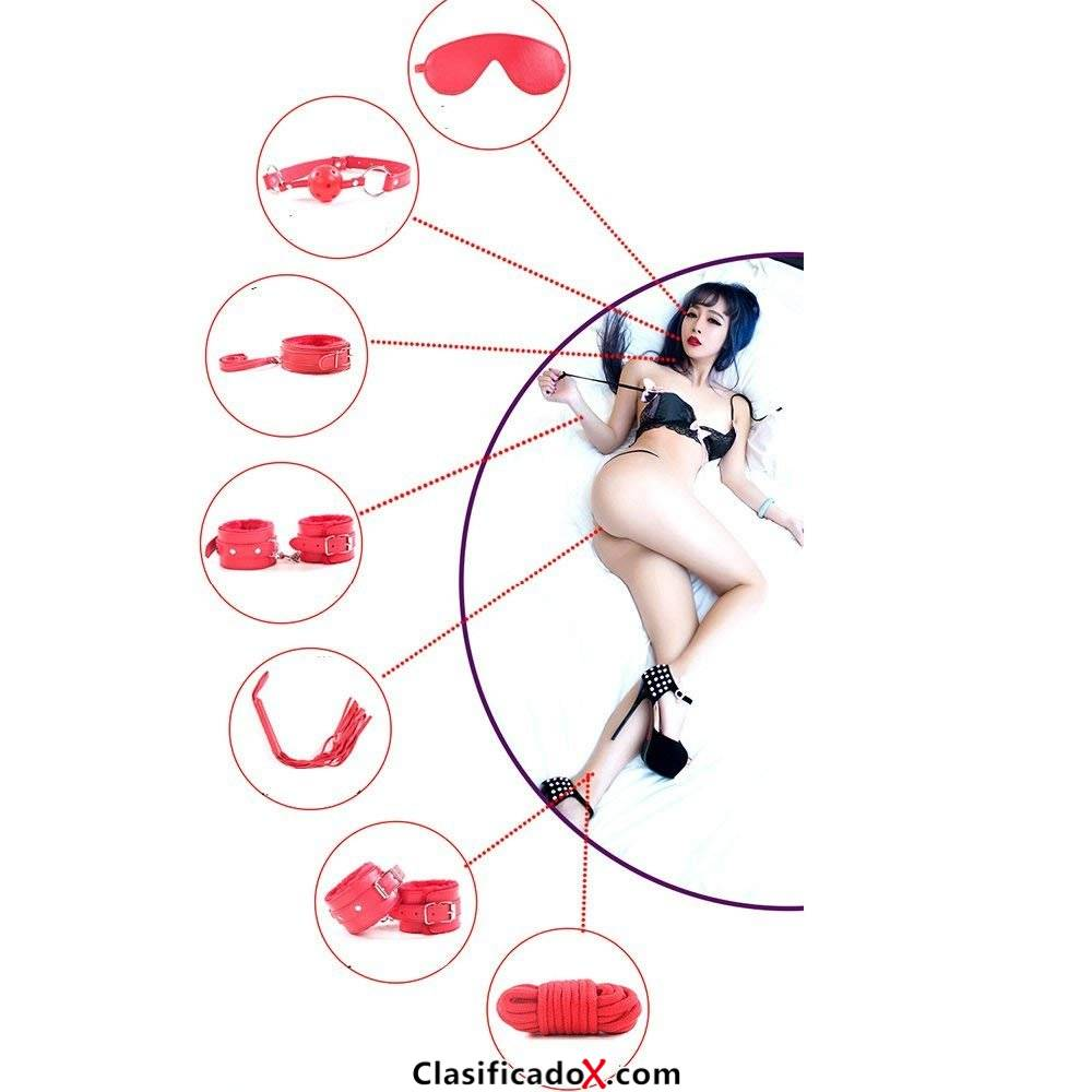 Cuero superior de la PU 7 piezas conjunto de sujeción látigo, esposas, venda, mordazas, collar, correa, gargantilla (rosa) (rosado). Envíos a Vizcaya