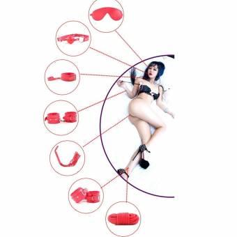 Cuero superior de la PU 7 piezas conjunto de sujeción látigo, esposas, venda, mordazas, collar, correa, gargantilla (negro). Envíos a Huelva