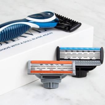 Cuchilla de afeitar QSHAVE, manual, para hombre, con 1 recambio de 3 cuchillas, 1recambio de 5 cuchillas y 1mango. Envíos a Pontevedra